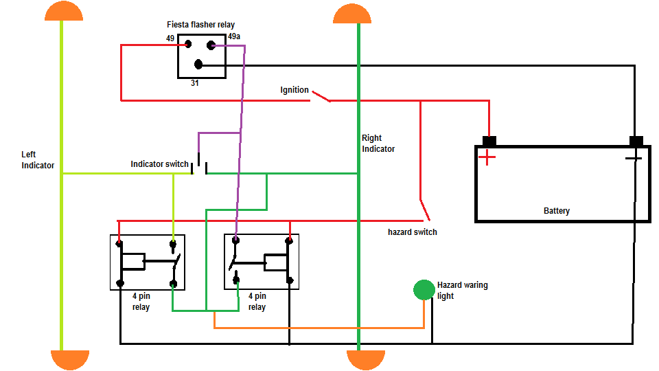 Classic Mini Wiring Diagram Indicators : Hazard warning switch wiring diagram